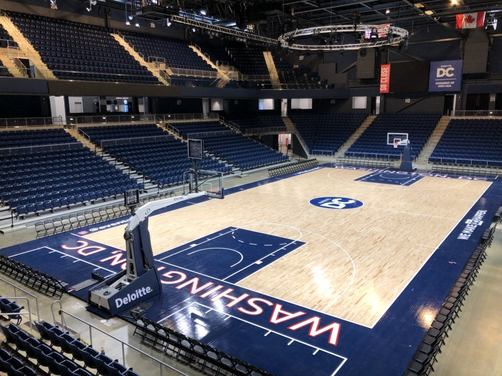 Basketball floor of the Entertainment and Sports Arena.