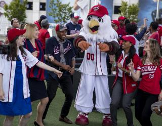 Screech with Nats fans