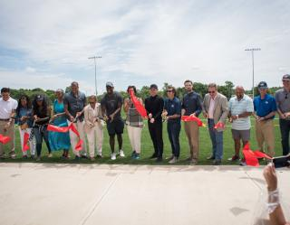 Cutting of the ribbon at The Fields at RFK Campus opening