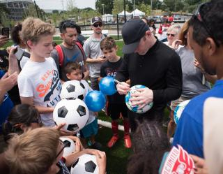 Wayne Rooney at The Fields at RFK Campus opening